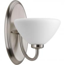Progress P2070-09 - One Light Brushed Nickel Etched Inside Sprayed White Glass Bathroom Sconce