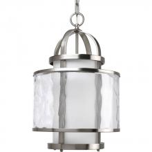 Progress P3701-09 - One Light Brushed Nickel Distressed Clear And Etched Opal Glass Framed Glass Foyer Hall Fixture