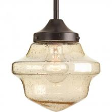 Progress P5137-20 - One Light Antique Bronze Clear Seeded Light Umber Seeded Glass School House Pendant