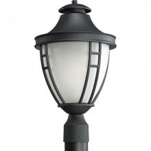 Progress P5402-31 - One Light Textured Black Etched Glass Post Light