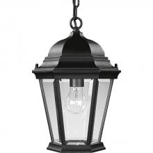 Progress P5582-31 - One Light Textured Black Clear Beveled Glass Hanging Lantern