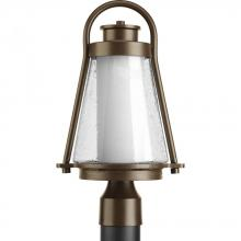 Progress P6405-20 - One Light Antique Bronze Clear Seeded Glass Post Light