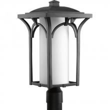 Progress P6418-31WB - One Light Black  Etched Opal Glass Post Light
