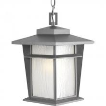 Progress P6521-136WB - One Light Etched Seeded Glass Textured Graphite Hanging Lantern