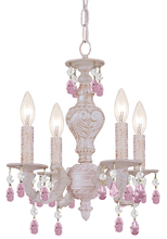 Crystorama 5024-AW-RO-MWP - Crystorama Paris Market 4 Light Rose Crystal White Mini Chandelier I