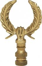 "Satco Products Inc. 90/1745 - U-Shaped Leaf Brass Finial 2-3/4"" Height - 1/4-27 Polished Brass"