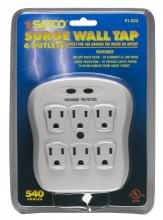 Satco Products Inc. 91/223 - 6 Outlet Surge Wall Tap 540 Joules 15A-120V, 1800W Indoor Use Only