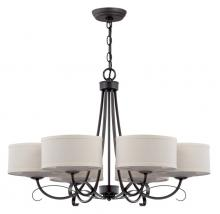 Jeremiah 35726-TB - Six Light Textured Black Drum Shade Chandelier