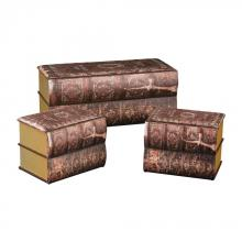 Sterling Industries 170-001/S3 - Set of 3 Antique Book Trunks