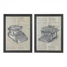Sterling Industries 26-8663/S2 - Set Of 2 Antique Typewriter Prints On Glass