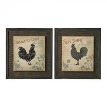 Sterling Industries 26-8677 - Fisher-Rooster Prints On Wood Set In Wire Mesh Matting