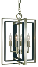 Framburg 4860 AB/MBLACK - 4-Light Antique Brass/Matte Black Symmetry Mini Chandelier