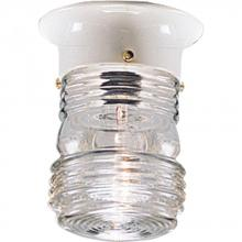 Progress P5603-30 - One Light White Clear Glass Outdoor Flush Mount