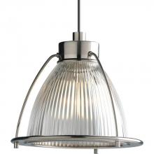 Progress P6182-09CL - One Light Brushed Nickel Clear Prismatic Glass Down Pendant