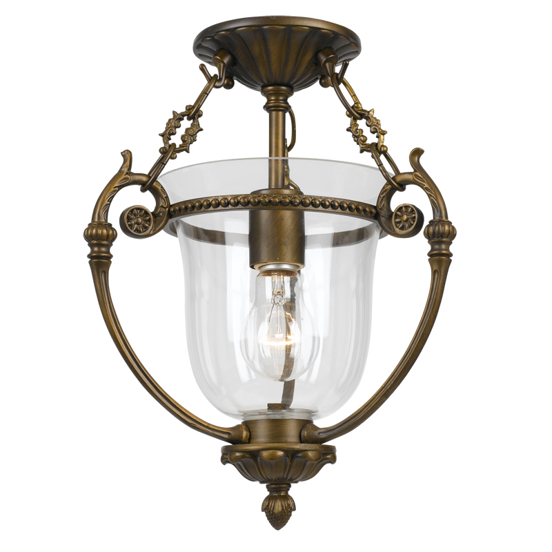 Crystorama 1 Light Brass Glass Ceiling Mount IV