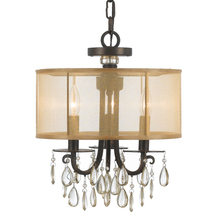 Crystorama 5623-EB - Crystorama Hampton 3 Light Bronze Etruscan Crystal Drum Shade Chandelier