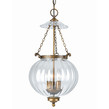 Crystorama 5783-AB - Crystorama 3 Light Brass Glass Pendant I