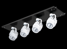 RAB Lighting MDLED4X12F-30Y-B-W - MULTI 4X12W LED 3K 30DEG BLK GEAR TRAY WH HEAD 120V - 277V
