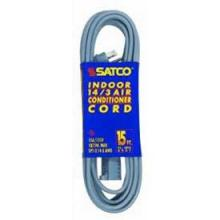 Satco Products Inc. 93/5003 - #14/3 Ga. Spt-3 Gray Air Conditioner/Appliance Cords 12 Ft. 14-3 Spt-3 Gray Cord W/Sleeve 15A/125V 1