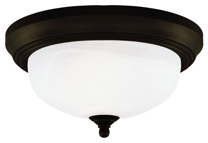 2 Light Flush Oil Rubbed Bronze Finish with Frosted White Alabaster Glass