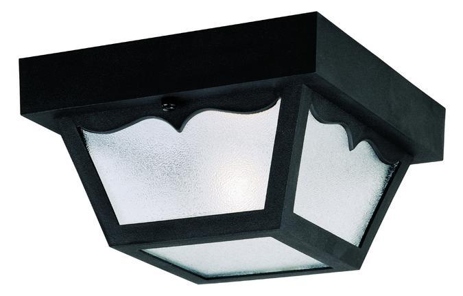 1 Light Hi-Impact Polypropylene Flush Black Finish with Clear Textured Glass