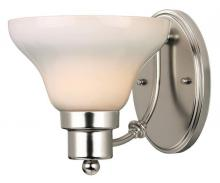 Westinghouse 6228400 - 1 Light Wall Fixture Satin Nickel Finish with White Opal Glass