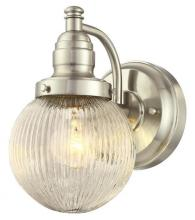 Westinghouse 6314200 - 1 Light Wall Fixture Brushed Nickel Finish with Clear Ribbed Glass