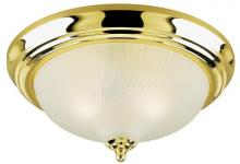Westinghouse 6430300 - 3 Light Flush Polished Brass Finish with Frosted Swirl Glass