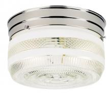 Westinghouse 6624000 - 2 Light Flush Chrome Finish with White and Clear Glass