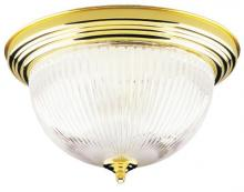 Westinghouse 6628200 - 2 Light Flush Polished Brass Finish with Crystal Ribbed Glass