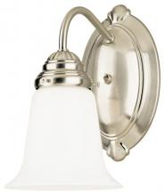 Westinghouse 6649600 - 1 Light Wall Brushed Nickel Finish with White Opal Glass