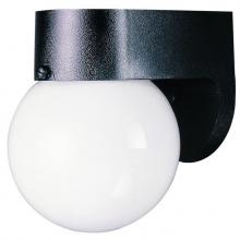 Westinghouse 6680300 - 1 Light Hi-Impact Polycarbonate Wall Fixture Black Finish with White Glass Globe