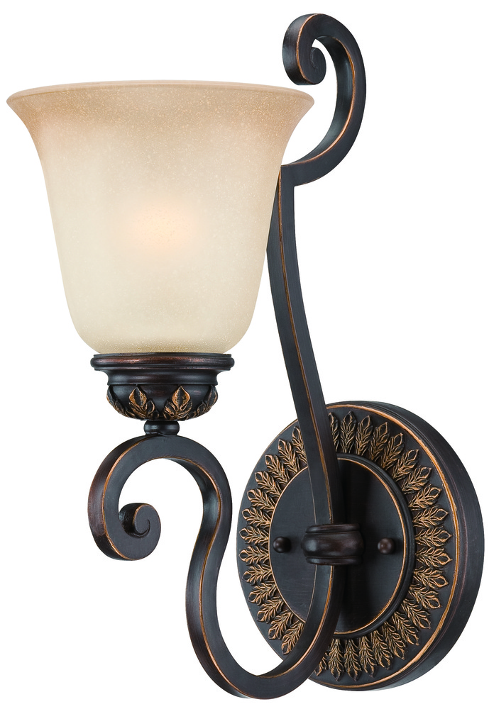 Josephine 1 Light Wall Sconce in Antique Bronze/Gold Accents