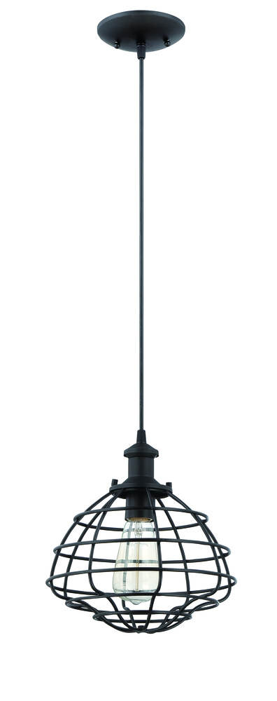 1 Light Mini Pendant with Cord in Matte Black