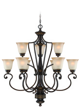 Jeremiah 28229-ABZG - Josephine 9 Light Chandelier in Antique Bronze/Gold Accents