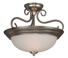 Jeremiah X124-BN - Two Light Brushed Nickel Frosted Melon Glass Bowl Semi-Flush Mount
