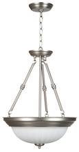 Jeremiah X125-BN - Three Light Brushed Nickel Frosted Melon Glass Up Pendant