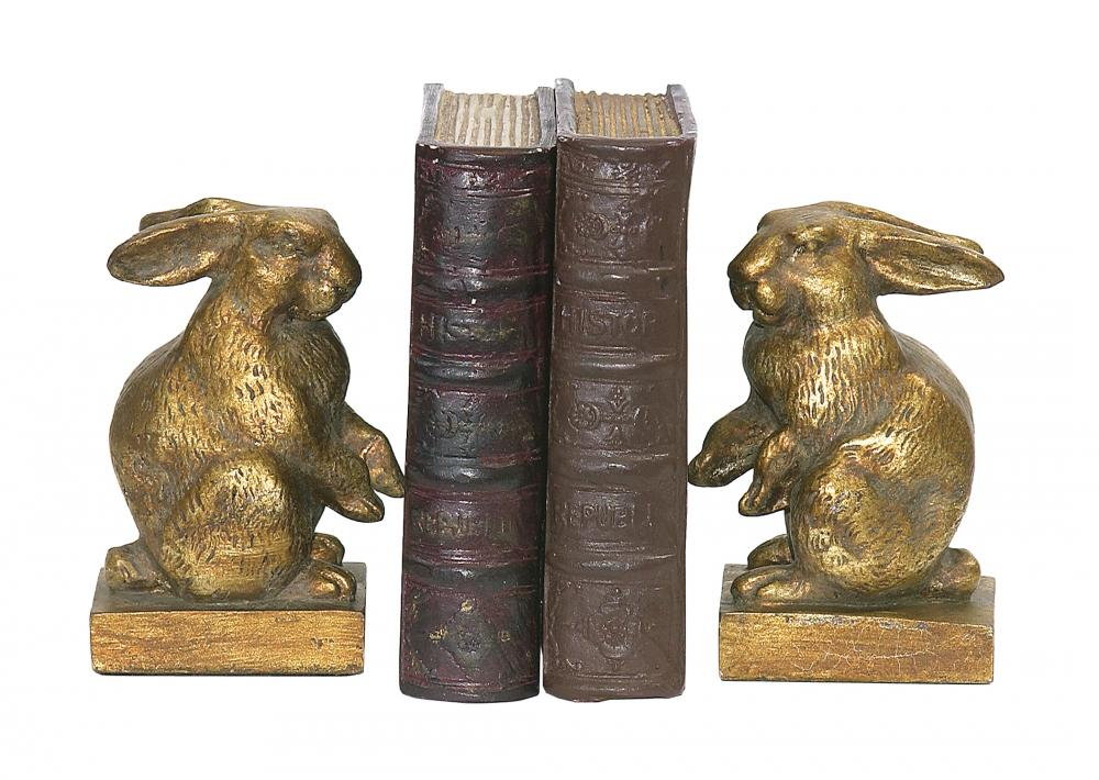 Baby Rabbit Bookends In Antique Gold And Brown - Pair