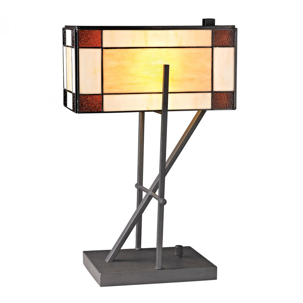 Fort William Tiffany Glass Table Lamp in Matte Black