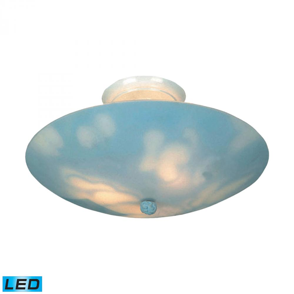 Kidshine 3 Light LED Semi Flush With Cloud-Theme