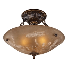ELK Lighting 08096-AGB - Restoration Flushes 3 Light Semi Flush In Antiqu